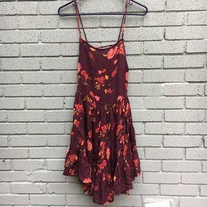 Free people floral maroon babydoll dress XS